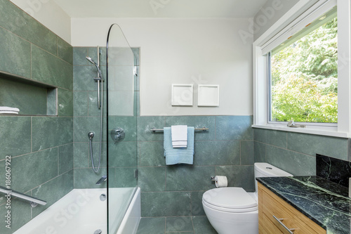 https stock adobe com images beautiful modern bathroom with glass shower green tiles and black marble counter top 186067922 start checkout 1 content id 186067922