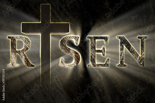 Easter Background With Jesus Christ Cross And Risen Text Written Engraved Carved On Stone With Light Coming From Behind Christian Religious Easter Card Resurrection Belief New Life Concept Buy This Stock