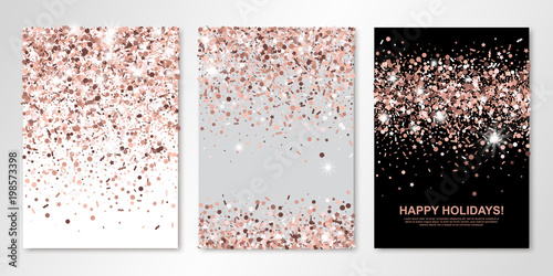 Banners Set Of Three Sheets With Rose Gold Confetti
