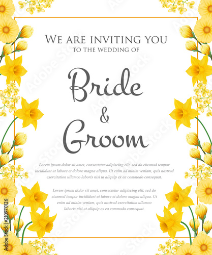 Wedding Invitation Design With Yellow Flowers Text In Frame
