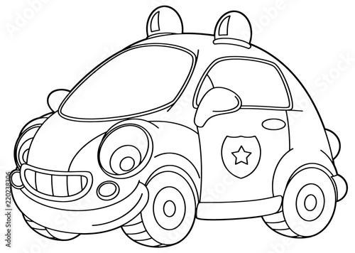Cartoon Scene With Vector Police Car Coloring Page Illustration For Children Buy This Stock Vector And Explore Similar Vectors At Adobe Stock Adobe Stock