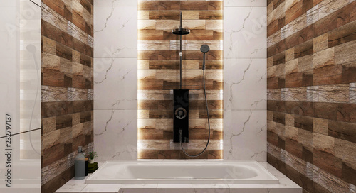 https stock adobe com images bathroom wooden tile and granite tile design with tub and a shower 3d rendering 232797137 start checkout 1 content id 232797137