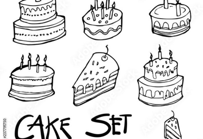Set Of Birthday Cake Icon Drawing Illustration Hand Drawn Doodle