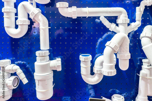 white plastic sewerage water pipes pvc