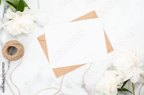 top view blank wedding invitation card