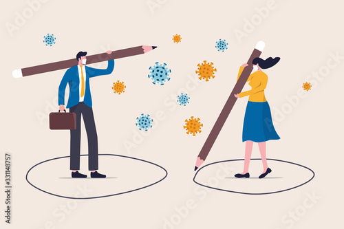 Social distancing, keep distance in public society people to protect from COVID-19 coronavirus outbreak spreading concept, businessman, woman keep distance away by drawing circle with virus pathogens
