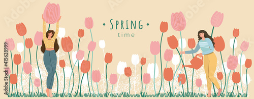 Spring season banner on beige background.Happy woman with tulip cute vector illustration in flat style for banner,card,poster,flyer,web.Flowers decoration.Hello spring template.Gardener female