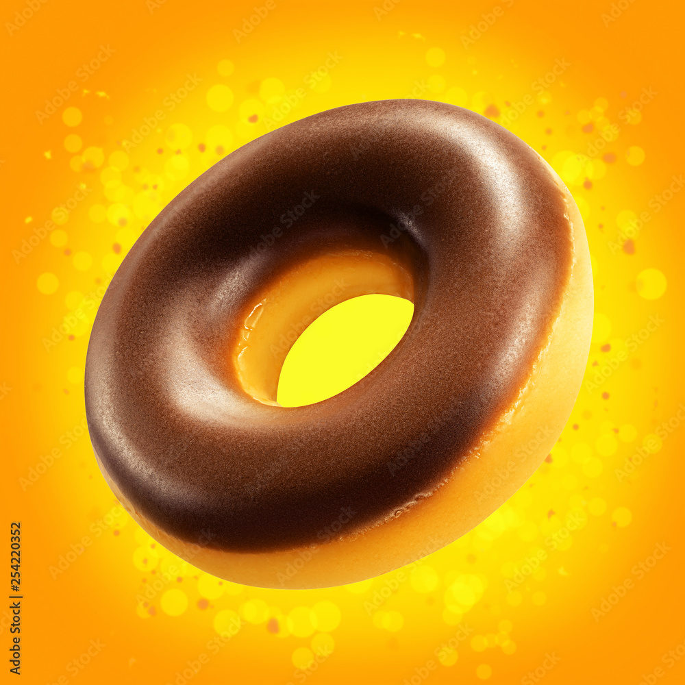 Choose which items are visible; Design Mockup Donut Closeup With Chocolate Glaze Sweet Food Concept Promo Flyer With Donuts On Orange Background With Splash Yellow Bokeh Doughnut Pastry Dessert Template For Bakery Stock Photo Adobe Stock
