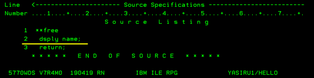 Source Specification inside the Spooled file