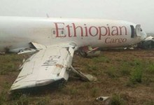 Photo of Ethiopian cargo plane crash-lands at Kotoka International Airport