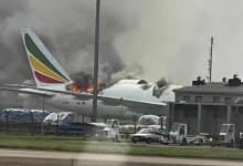 Ethiopian Airlines flight on fire