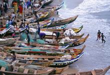 Fishing canoes in Ghana