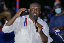 Information Minister, Kojo Oppong Nkrumah, addressing his constituents in Ofoase/Ayirebi