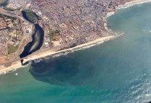 Aerial view of Korle meeting the Atlantic