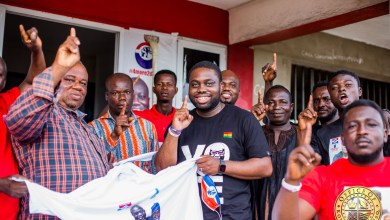 Photo of Kow Essuman supports Mfantseman Constituency with campaign items