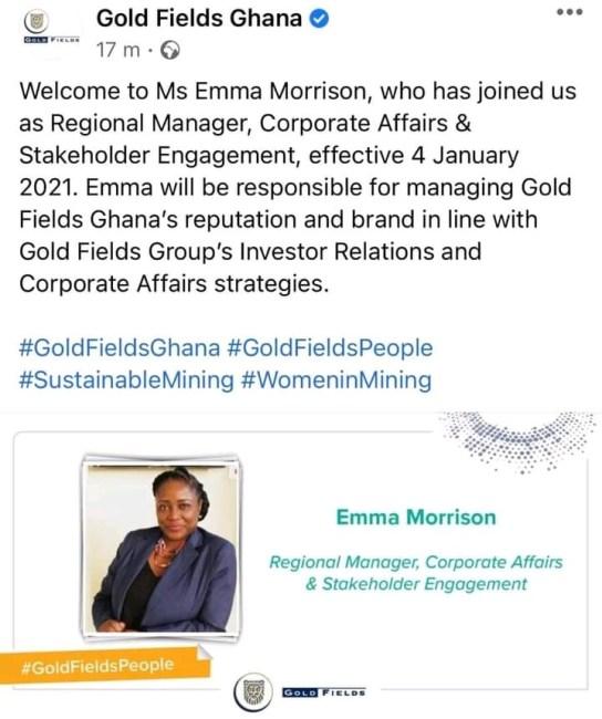Emma Morrison, Goldfields