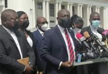 Kojo Oppong Nkrumah addressing the media