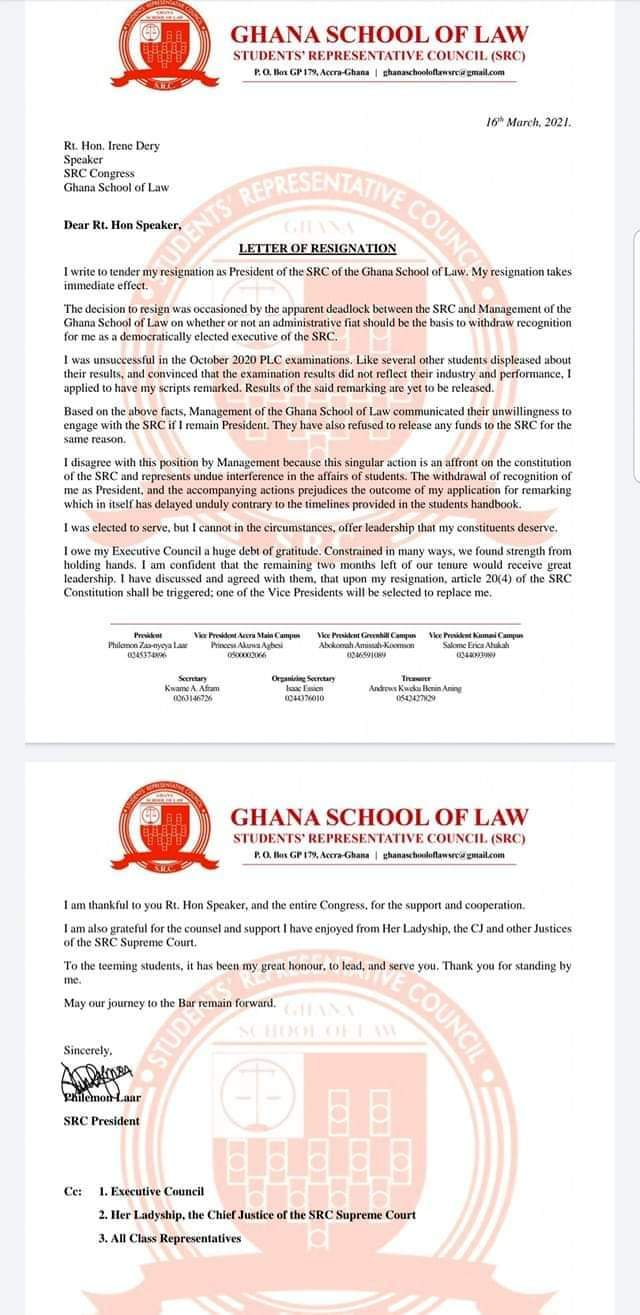 Ghana School of Law SRC president forced to resign over exams failure 2