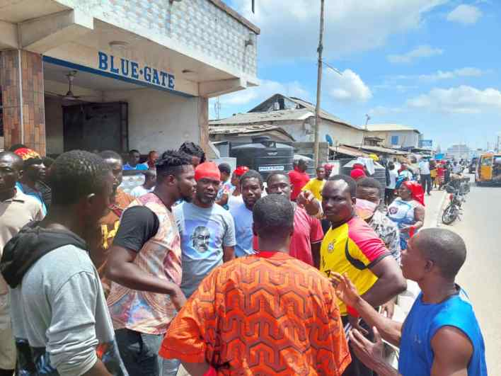 Odododiodoo youth protest against the reported removal of Mohammed Adjei Sowah as Mayor of Accra on Saturday