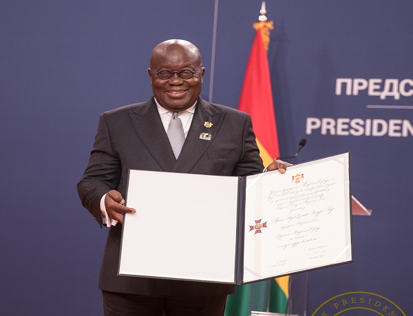 President Akufo-Addo with the Serbia citation