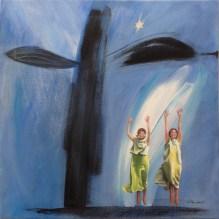 Alltid med varandra/Always with each other. Åsa Chambert. Olja på duk/Oil on canvas. 55x55 cm.