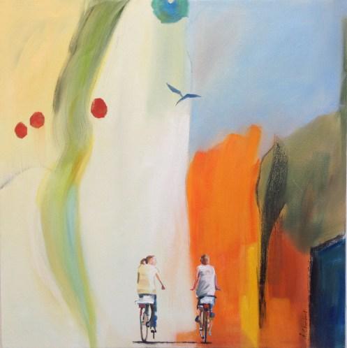 Till stranden/To the beach. Åsa Chambert. Olja på duk/Oil on canvas. 55x55 cm.
