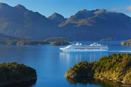 Cruise ship in remote Dusky Sound, Fiordland National Park, New