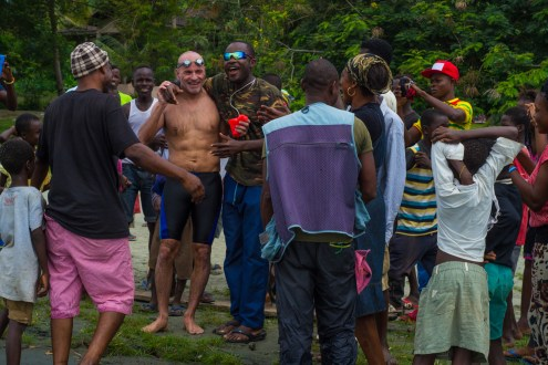 Locals cheer Martin after the swim
