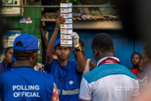 An electoral official counting the ballots. Accra,Ghana