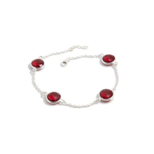 Armband Michelle Silver Ruby i silver och tillverkad kvarts likt granat
