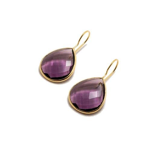Effie Golden Purpur örhänge i guldpläterat silver och tillverkad lila sten