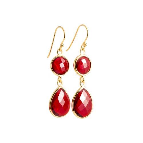 Sellma Golden Ruby örhänge i guldpläterat silver och tillverkad röd kvarts