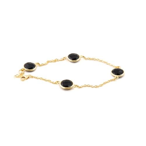 Armband med stenar av äkta svart onyx infattat i guldpläterat äkta silver