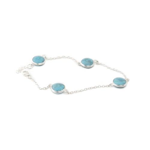 Armband med stenar av äkta turkos infattat i äkta silver