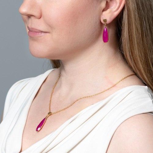 Örhängen Anja Halsband Sonja Golden Pink