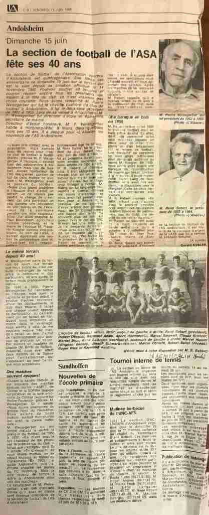 Article Alsace 40 ans du club 1986