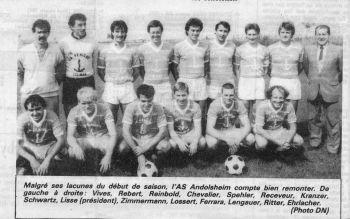 As Andolsheim séniors 1984-1985