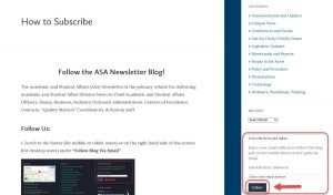 Right side bar with follow blog via email boxed in red, follow button also boxed in red with red arrow indicating where to click