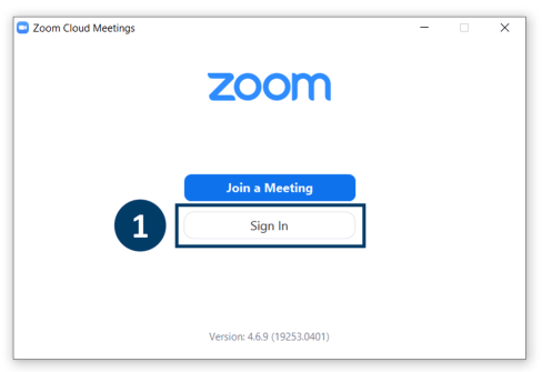 Screenshot of Zoom application with the option to sign in outlined