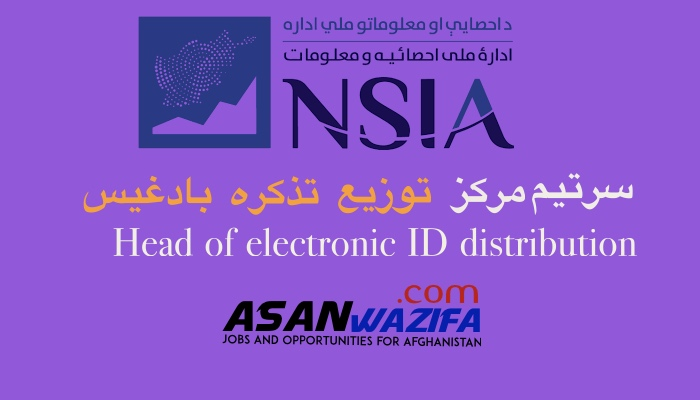 Jobs by NSIA as Head of electronic ID distribution Badghis province