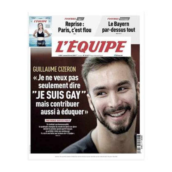 The cover of the newspaper L'equipe with the story of the ice skater