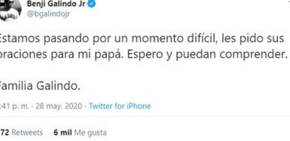 Only his son has spoken about the situation of the strategist (Photo: Twitter @bgalindojr)