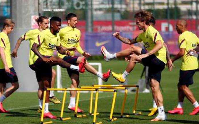 Players go through the last phase of group practice - EFE / FC Barcelona / Miguel Ruiz