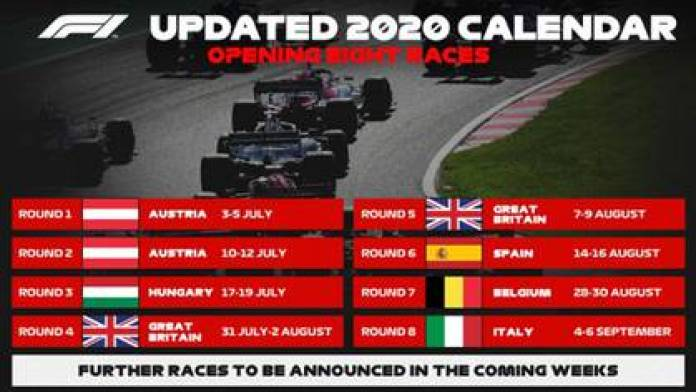These are the dates and venues of the first eight Formula 1 races in a pandemic (@ F1)