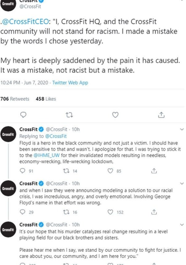 Greg Glassman's apologies for his message that some called racist was made by the official account of CrossFit, the company that leads (Twitter)
