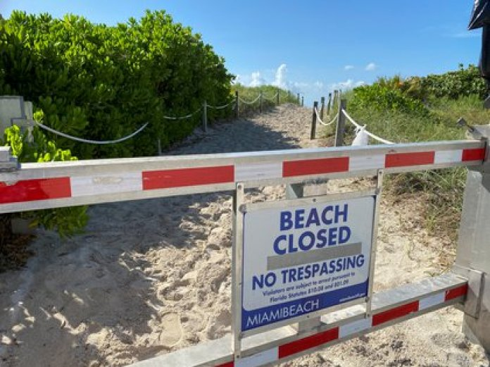 Beaches have been closed in South Beach to prevent the spread of the coronavirus (Reuters)