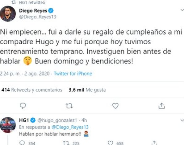 Diego Reyes clarified that he only went to give a gift to his teammate (Photo: Twitter / @ Diego_Reyes13)