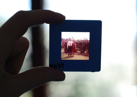 Hand holding a slide against the light where the photo of a marriage from several decades ago is going.
