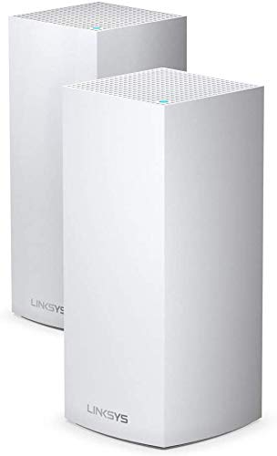 Linksys MX10600 Velop 6 mesh tri-band whole home WiFi system (AX10600 WiFi router / extender, 525 m² coverage, 4x faster speeds, 100+ devices, 2 nodes, white)