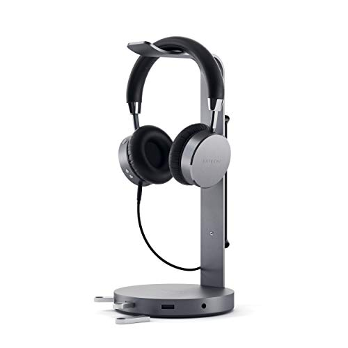 SATECHI USB Headphone Holder Stand with 3 USB 3.0 Ports and 3.5mm AUX Port - Universal Fit - Compatible with Bose, Sony, JBL, Panasonic, AKG (V2 Space Gray)